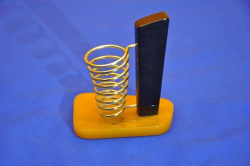 40s Vintage Catalin pen Holder Amber Black