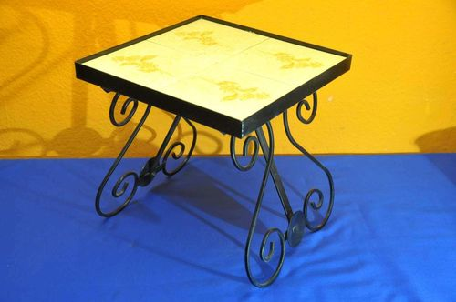 60s vintage flower bench iron with tiles