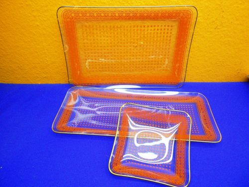 3 Vintage Glas Servierplatten DDR Orange gemustert
