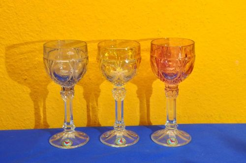 Hofbauer Lead Crystal 3 Wine Goblets Red Purple Yellow