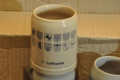 Lufthansa 6 beer stein with coat of arms stoneware 0.3 l