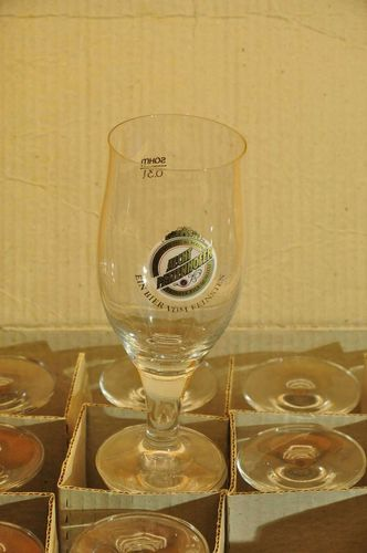 Sahm 12 Crystal Beer Glasses Aecht Patzenhofer NOS