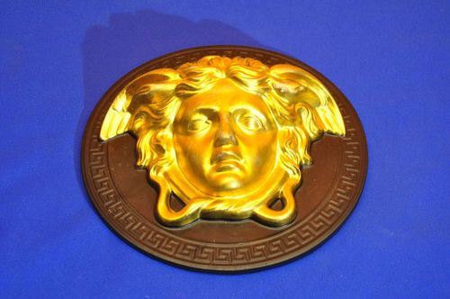 Medusa head wall mask wall relief black gold