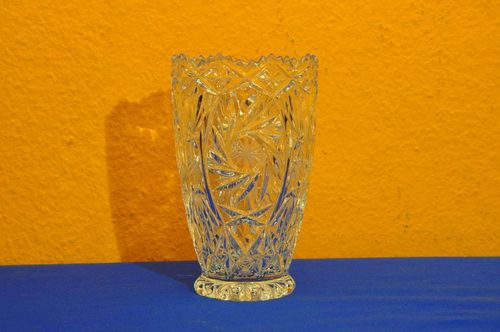 Cut Crystal Vase with star cut