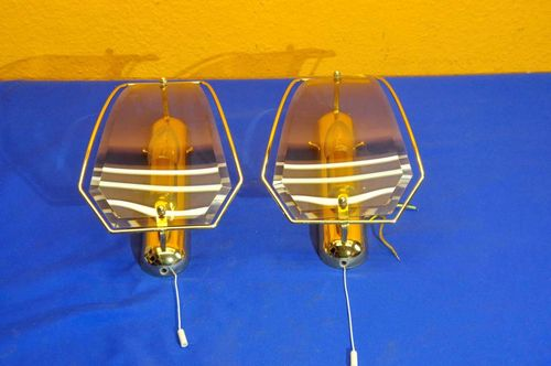 2 Sölken Leuchten brass crystal glass wall light 1970s