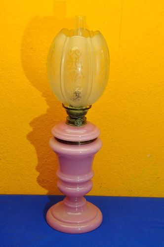 Kosmos oil lamp pink glass and etched shade 1880