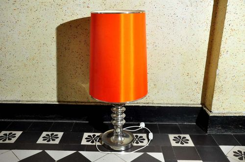 Designer floor lamp pop art chrome / red orange around 1970