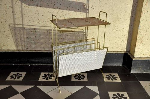 old Newspaper rack made of metal - brass plated - 1950s