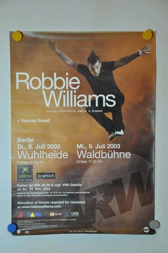 Robbie Williams Tour 2003 Berlin Konzert Poster