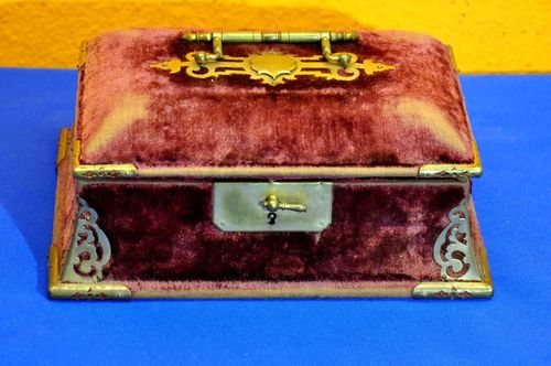 Jewelry box purple velvet with brass fittings 1880