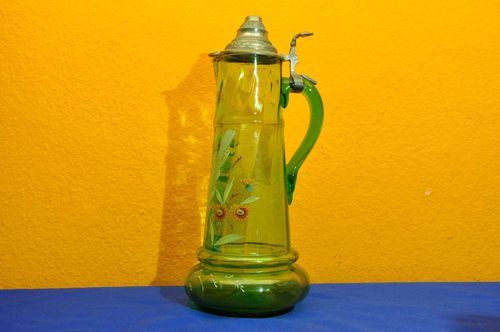 Serving pitcher glass jug green glass tin lid 1900
