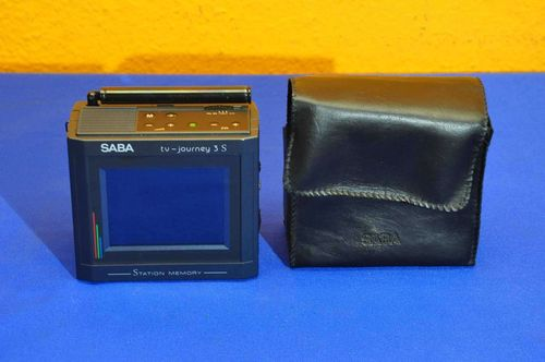 Pocket TV SABA tv-journey 3S with bag around 1990