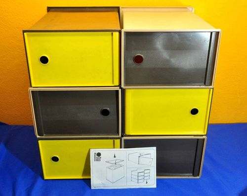 6 stacking boxes with door Flair Design 3-colored 70s