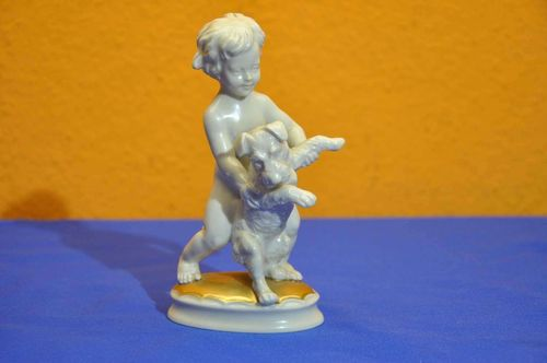 Art Deco Rosenthal Figure Boy with Dog M. H. Fritz
