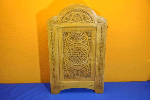 Small wall cabinet massive wood much carvings 1880