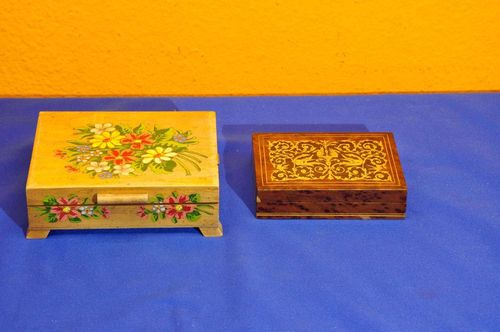 2 pretty wooden caskets flowers and inlaids