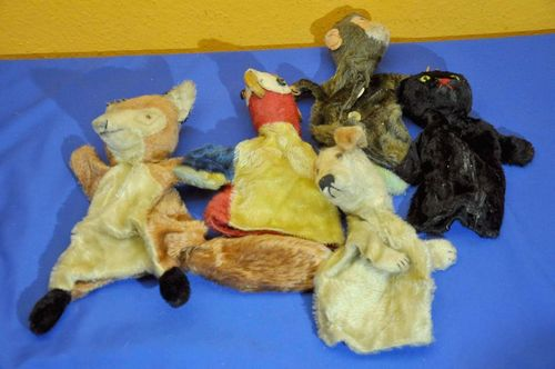 5 old hand puppets from Steiff around 1960s