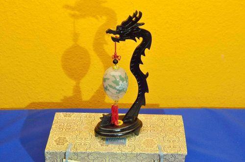 Inside hand-painted glass egg with Dragon Stand + Box