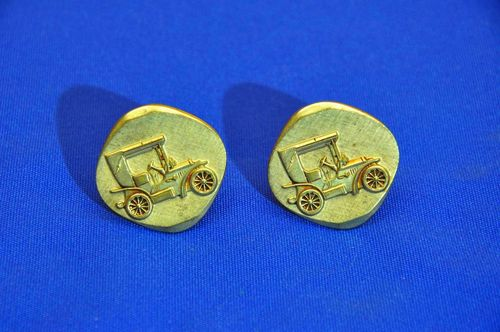 Large classic car cufflinks made of bronze 1960s