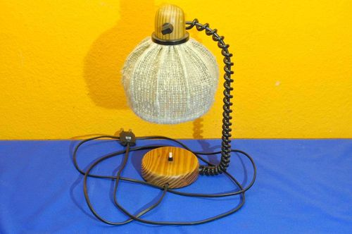 Small table lamp / wall lamp wood with fabric shade