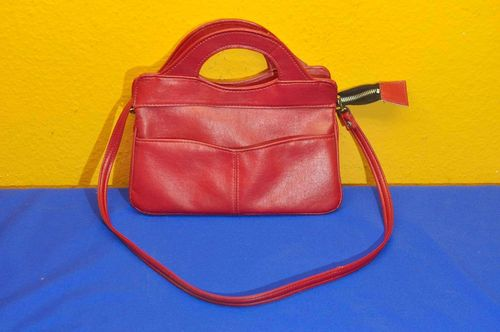 70s Vintage Handbag in Red Faux Leather