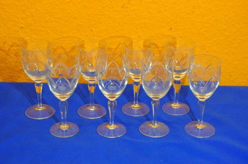 8 south wine glasses crystal glasses hand cut 1960s