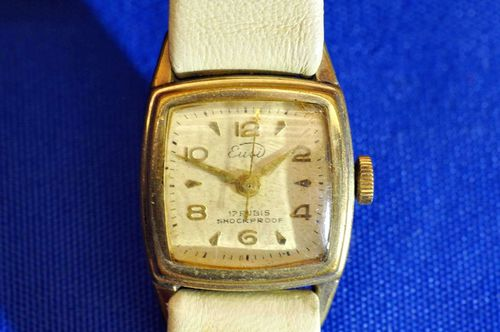 Eusi Ladys wristwatch rolled gold 17 Rubis 1950s