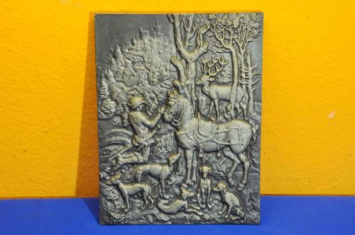 Wall decoration cast iron relief Hubertus hunting 29/9043