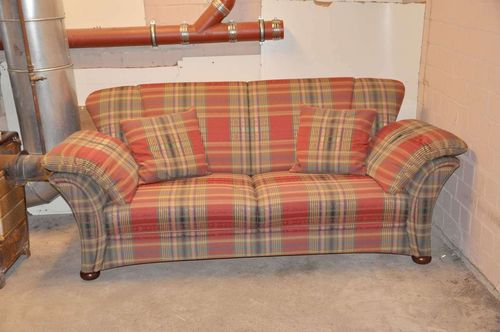 Red plaid sofa Frommholz model Verona 2 1/2 seater