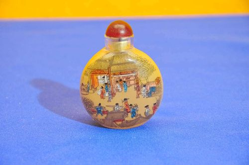 Snuff glass bottle painted from inside probably China