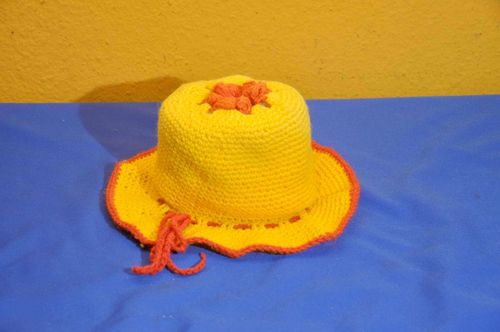 Vintage Toilet Hat Toilet Paper Holder Orange Crochet
