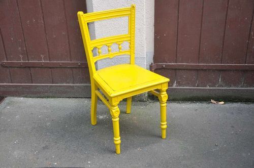 Wilhelminian style chair 1880 solid wood painted yellow