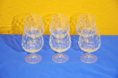 6 crystal cognac glasses with notch cut