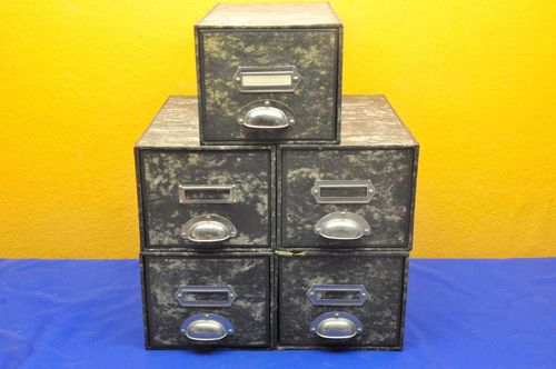 5 card index boxes with holders / handles 1950s