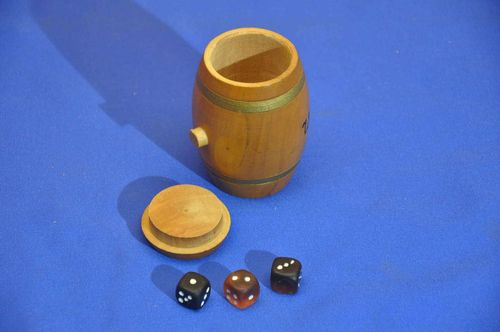 Dice cup in barrel shape with 3 glass cubes 1950s