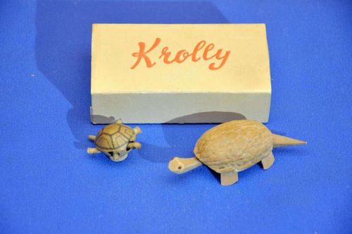Krolly the bobble head turtle made from a walnut