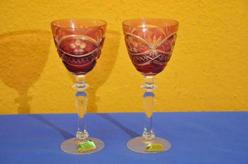 2 Lausitzer Colored Cut to Clear Crystal Goblets