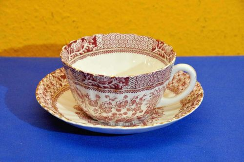 Large teacup Blairs China England red flower decor