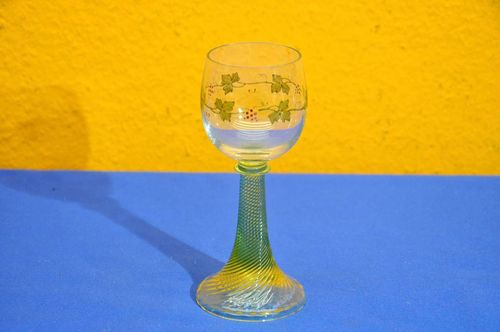 Wine glass turned uranium glass trumpet foot handpainted
