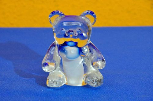 Crystal Teddy Paperweight Clear Blue White