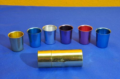 1960s aluminum shot cup set with box