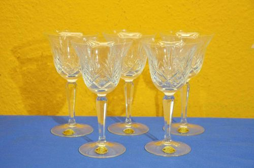 5 crystal wine goblets hand blown square stems