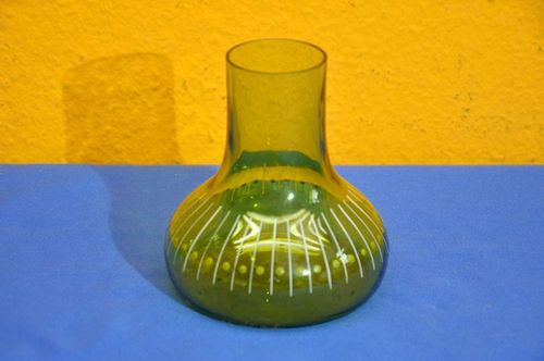 Small table vase green glass with enamel decor 1920s