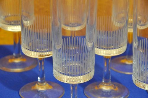 50s vintage champagne glasses set with notch cut
