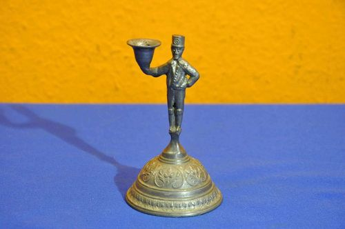 Miner pewter candlestick