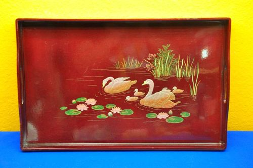 Serving tray motif swan family Chinese lacquer decor