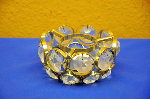 Weinfurtner crystal warmer tea light holder gold plated