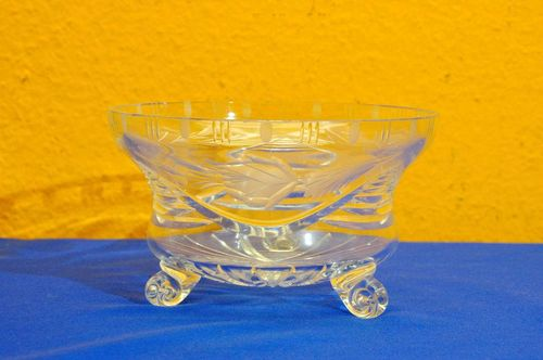 Vintage Crystal Bowl volute feet pretty cut