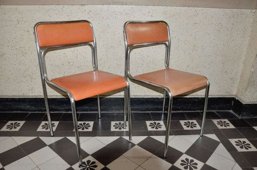 2x 70s kitchen chair metal chrome-plated orange covers