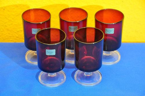 Luminarc France 5 red drinking glasses chalice glasses